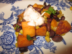 South of the Border Sweet Potato, Corn and Pepper Skillet